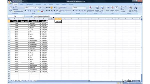 Referring to Excel table cells in formulas: Excel 2007: Introduction to Formulas and Functions