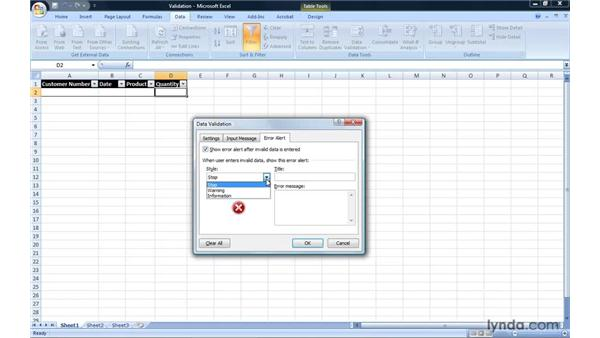 Creating data validation rules: Excel 2007: Introduction to Formulas and Functions