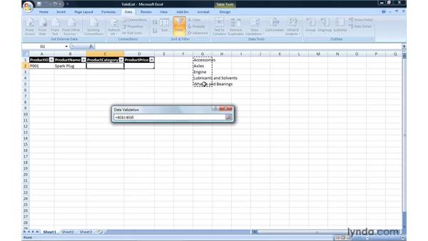 Using lists to limit values entered into a cell: Excel 2007: Introduction to Formulas and Functions