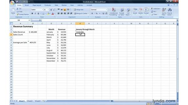 Managing Excel formula error indicators: Excel 2007: Introduction to Formulas and Functions