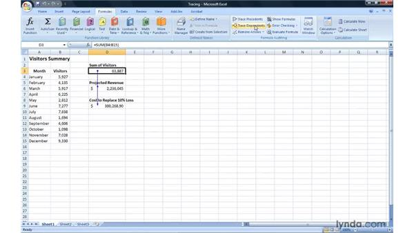 Tracing formula precedents and dependents: Excel 2007: Introduction to Formulas and Functions