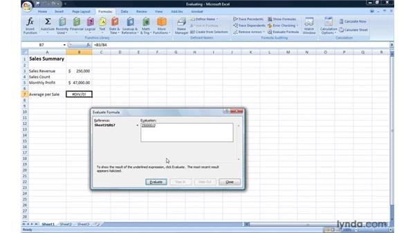 Evaluating Excel formulas step by step: Excel 2007: Introduction to Formulas and Functions