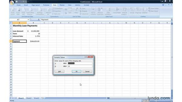 Creating scenarios and applying them to an Excel worksheet: Excel 2007: Introduction to Formulas and Functions