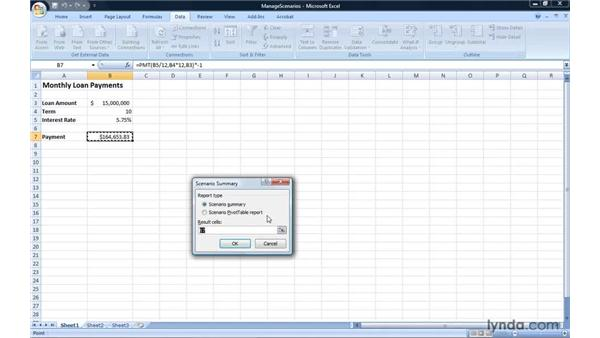Editing, deleting, and summarizing scenarios: Excel 2007: Introduction to Formulas and Functions