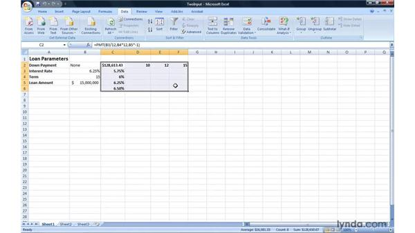 Creating a double-input data table: Excel 2007: Introduction to Formulas and Functions