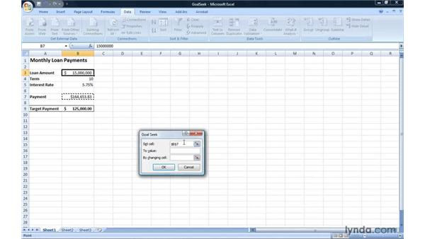 Finding target values using Goal Seek: Excel 2007: Introduction to Formulas and Functions