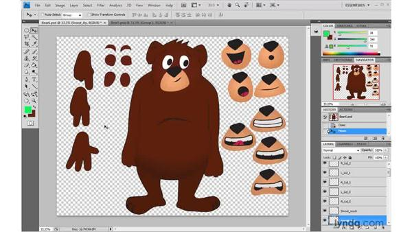 Creating parts for replacement animation: 2D Character Animation