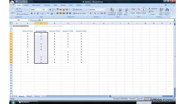 Getting statistics from the Status bar: Excel 2007 Power Shortcuts
