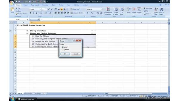 Grouping rows or columns to create collapsible regions: Excel 2007 Power Shortcuts