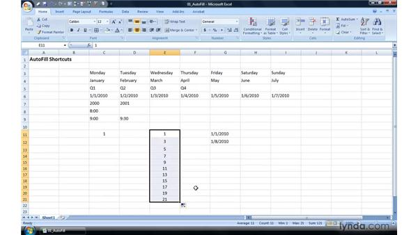 Extending a series or pattern with Autofill: Excel 2007 Power Shortcuts