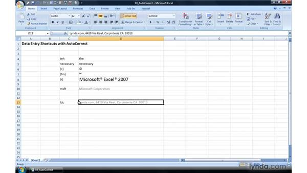 Data entry shortcuts with AutoCorrect: Excel 2007 Power Shortcuts