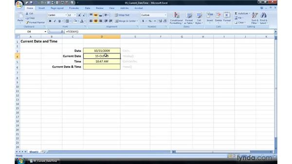 Inserting the current date and/or time: Excel 2007 Power Shortcuts