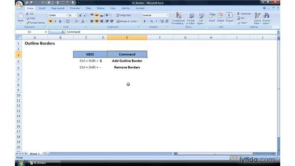 Adding and removing cell borders: Excel 2007 Power Shortcuts