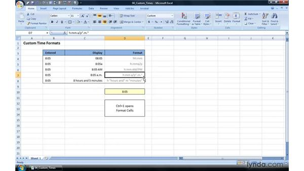Custom time formats: Excel 2007 Power Shortcuts