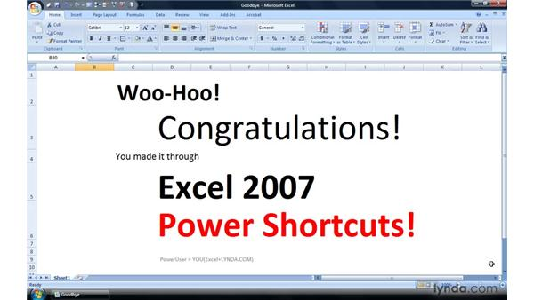 Goodbye: Excel 2007 Power Shortcuts