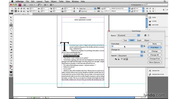 Building with modifiers: Single-line and multi-line: Learning GREP with InDesign