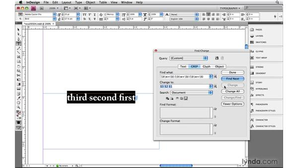 Preserving and recalling using subexpressions: Learning GREP with InDesign