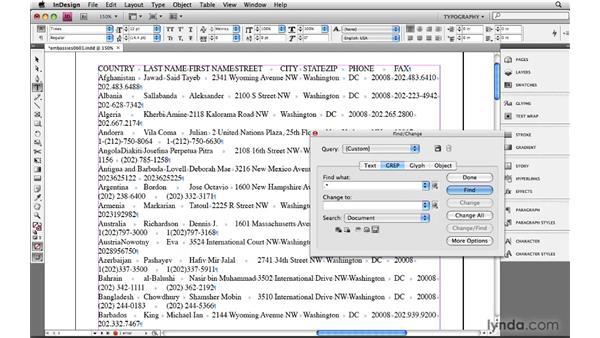 Describing imported spreadsheet data: Learning GREP with InDesign