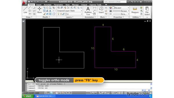 Locking angles with the Ortho and Polar modes: AutoCAD 2010 Essential Training