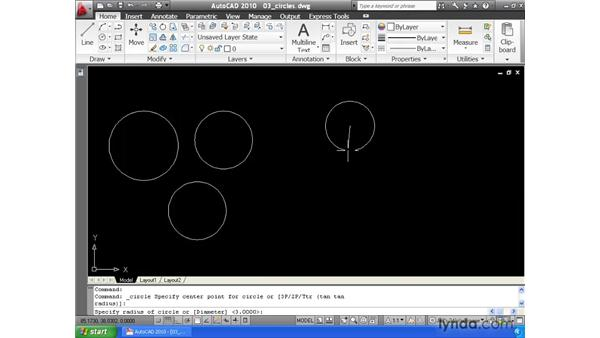 Drawing circles: AutoCAD 2010 Essential Training