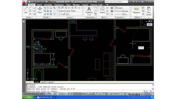 Constructing geometry using architectural measurements: AutoCAD 2010 Essential Training