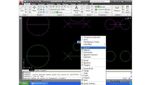 Locking to geometry using object snaps: AutoCAD 2010 Essential Training