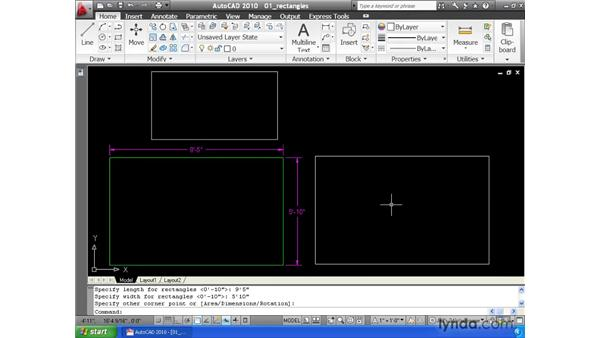 Drawing rectangles: AutoCAD 2010 Essential Training