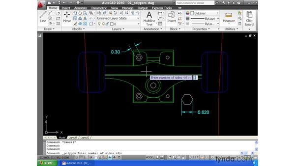 Drawing polygons: AutoCAD 2010 Essential Training