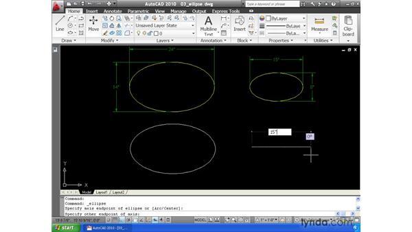 Drawing ellipses: AutoCAD 2010 Essential Training