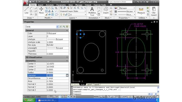 Making geometric changes using the property changer: AutoCAD 2010 Essential Training