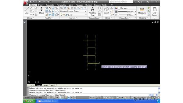 Trimming and extending geometry: AutoCAD 2010 Essential Training