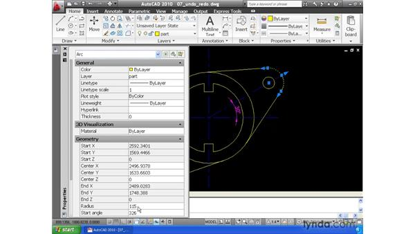 Undoing and redoing actions: AutoCAD 2010 Essential Training
