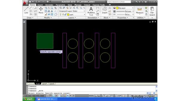 Selecting entities using a window: AutoCAD 2010 Essential Training