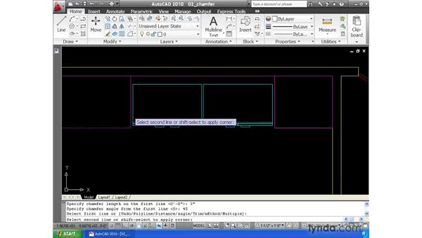 Creating chamfers: AutoCAD 2010 Essential Training
