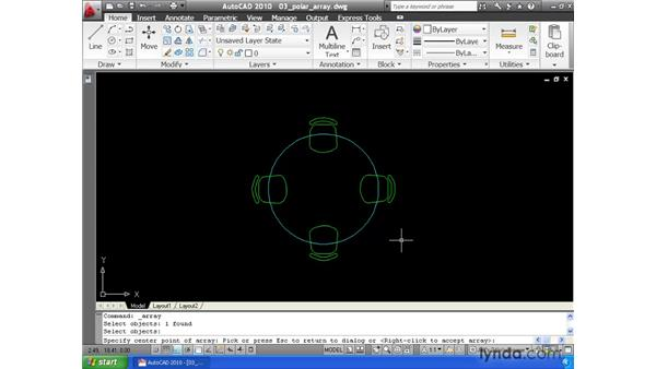 Using the Array command to create copies in a rotated pattern: AutoCAD 2010 Essential Training