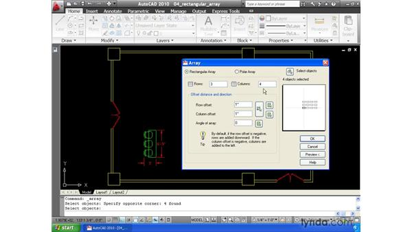 Using the Array command to create copies in a rectangular pattern: AutoCAD 2010 Essential Training