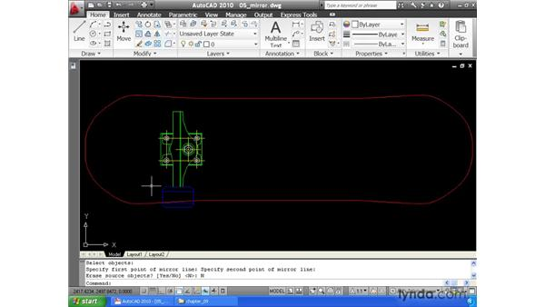 Creating mirrored copies of geometry: AutoCAD 2010 Essential Training