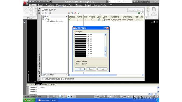 Creating and adjusting layers using the Layer Property Manager: AutoCAD 2010 Essential Training