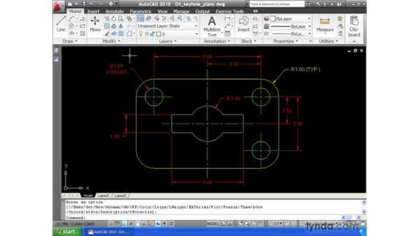 Changing layer settings using layer control: AutoCAD 2010 Essential Training