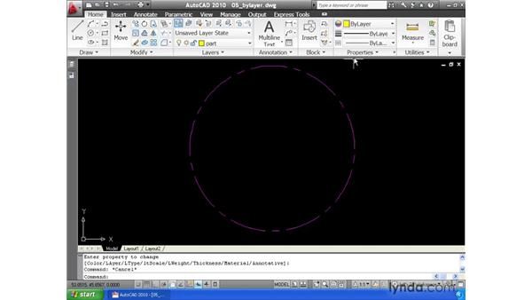 Understanding the BYLAYER property: AutoCAD 2010 Essential Training