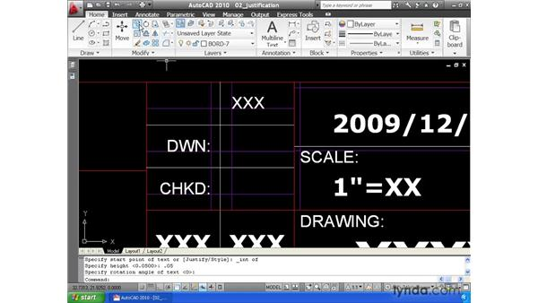 Justifying text: AutoCAD 2010 Essential Training
