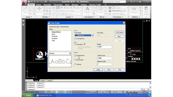 Controlling appearance using text styles: AutoCAD 2010 Essential Training