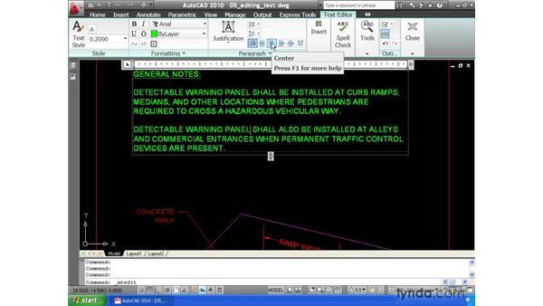 Editing text: AutoCAD 2010 Essential Training