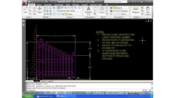 Creating bulleted and numbered lists: AutoCAD 2010 Essential Training