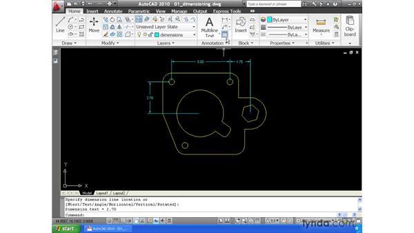 Creating general dimensions: AutoCAD 2010 Essential Training