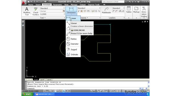 Creating continuous and baseline dimensions: AutoCAD 2010 Essential Training