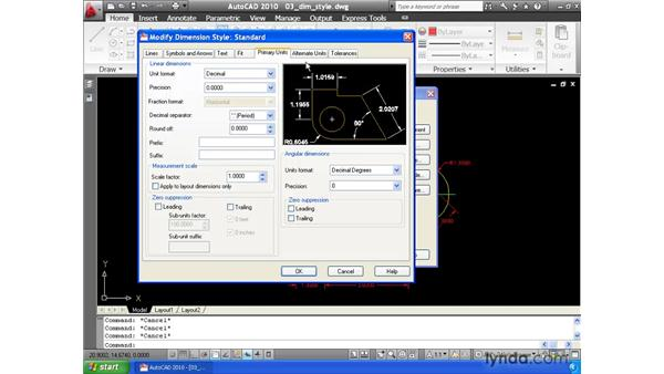 Controlling appearance using dimension styles: AutoCAD 2010 Essential Training