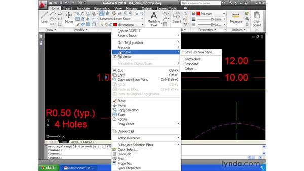 Modifying dimensions: AutoCAD 2010 Essential Training