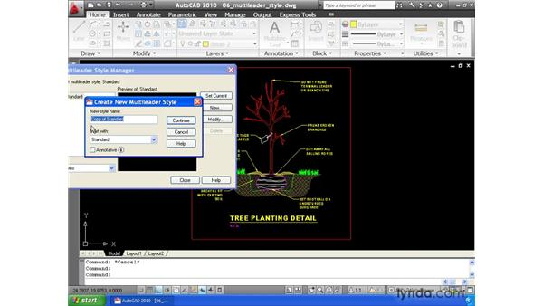 Controlling appearance using multi-leader styles: AutoCAD 2010 Essential Training
