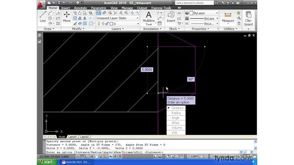 Taking measurements using the Distance command: AutoCAD 2010 Essential Training